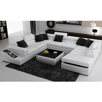 Exclusive Newly Constructed Modern Leather Sectional Sofa Set
