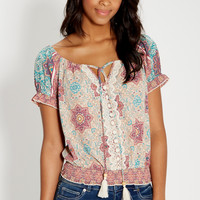 patterned off the shoulder peasant top   maurices