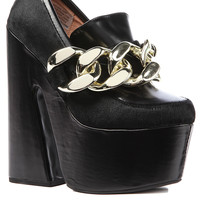 Jeffrey Campbell Shoe Hudson in Black Calf Hair and Gold Chain