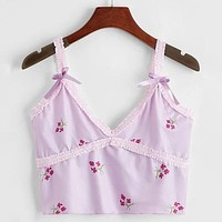 Lavender Floral Bow Applique Cami Top