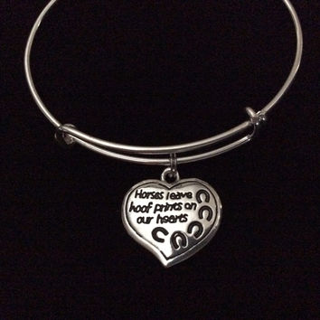 Horses Leave Hoof Prints on our Heart Charm on a Silver Expandable Bracelet Adjustable Wire Bangle Meaningful Trendy Handmade Stacking Animal Lover Gift