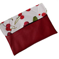 Cherry red vegan leather clutch, ipad case, cover