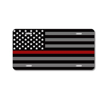 DistinctInk Custom Aluminum Decorative Vanity Front License Plate - Thin Red Line Flag Fire Rescue Support
