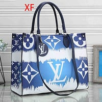 elainse29 LV Bag Louis Vuitton Shopping Bag Big Monogram Colorful Print Handbag Blue