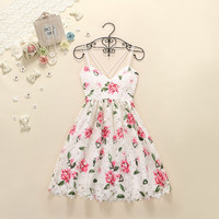 CUTE LACE FLOWER STRAPS DRESS