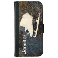 Personalized pair of ice skates on a frozen lake iPhone 6 wallet case