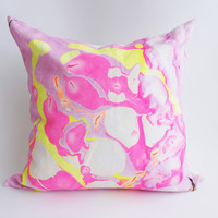 "24"" Hand Inked Pillow, Neon Bubbles"
