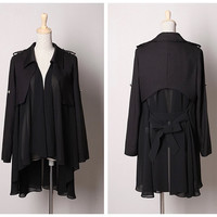 Black Collared Bow Back Pleated Irregular  Loose Chiffon Coat