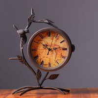 Home Decoration Vintage Double Sided Pastoral Style Creative Clock [6282985734]