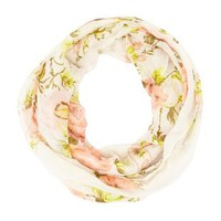 Floral Print Infinity Scarf by Charlotte Russe - Ivory