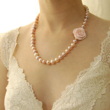Pink Pearl Wedding Necklace, Pink Rose, Hand Knotted, Pearl Necklace, Large Freshwater Pearls, Peach, Flower, Floral - OOAK One of a Kind