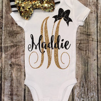 Personalized Monogram Bodysuit Sparkle Baby Girl Clothes Baby Girl Shirt Cute Baby Clothes Baby Gift Monogram Gift