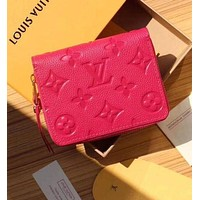LV Louis Vuitton Popular Women Shopping Pure Color Print Leather Zipper Wallet Purse Rose Red I