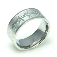 Men Engraved Barbed Wire Stainless Steel Ring 9-13