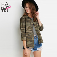 Haoduoyi  Womens Spring Loose Camouflage Coats Army Green Disposition Slim Button Outwear Jacket
