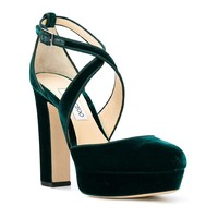JIMMY CHOO Women's Velvet Sandals With Platform Shoes