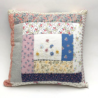 "Handmade Patchwork Pillow, Vintage Fabrics and Trim, Quilted Pillow with Vintage Embroidery Upcycle, Shabby Chic, 15"" x 15"" Throw Pillow"