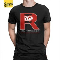 Join Team Rocket T Shirt Man Normal Clothes Vintage T-Shirt Crewneck Pure Cotton Tee ShirtKawaii Pokemon go  AT_89_9
