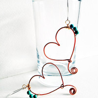 Copper heart dangle earrings, recycled copper wire earrings with handmade sterling silver ear wires, turquoise magnesite stone