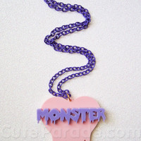 Strawberry x Grape Monster Melting Dripping Heart Necklace Kawaii Fairy Kei Creepy Cute