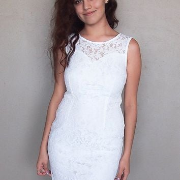 Flirting With Desire White Lace Midi Dress