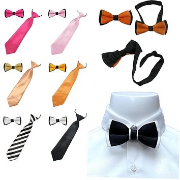 2PCS High Quality Children's Kids Unisex Solid Color Ties Bowtie Wedding Boys Bow Tie Clothing AccessoriesTR0011