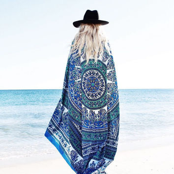 DearDeer Beach Throw Tapestry Hippy Boho Gypsy Cotton Tablecloth Beach Towel , Round Yoga Mat [4970243332]