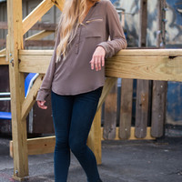 Seize The Day Blouse, Mocha