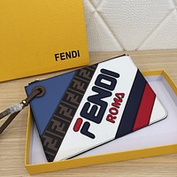 FENDI WOMEN'S LEATHER TRIPLETTE ZIPPER HAND BAG
