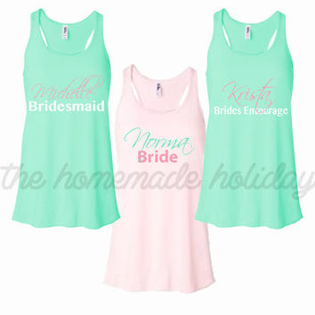 Personalized Bride and Bridesmaids Bachelorette Party Tank tops, Wedding tank tops, bride and bridesmaids tank tops