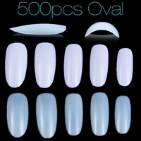 New Fake Nails Tips 500 Full Cover Oval False Nails 10 Sizes Professional Nail Art Practice Tools Manicure Faux Ongles Diy 2017