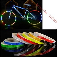 Reflective Stickers Motorcycle Bicycle Reflector Security Wheel Rim Decal Tape Sports Bike Bicycle Light Accessories WS&40