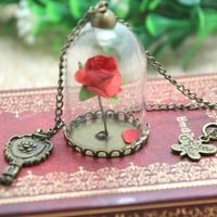 12pcs/lot Beauty and The Beast Enchanted Rose Inspired Necklace  Rose Glass Dome  bronze tone mirror charm