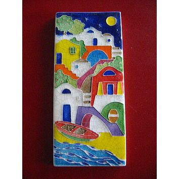 Creazini Luciano Salerno Signed Italian Nautical Seaside Ceramic Tile