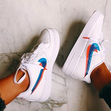Nike Air Force 1 Fashionable Women Men Casual Pink Blue Double Hook Sport Running Shoes Sneakers