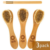 Bath Blossom Face Cleansing Brush for Facial Exfoliation - Skin Cleaning Scrubber Brush - Natural Bristles Exfoliating Face Brushes for Dry Brushing - Suitable for Men and Women