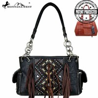 MW440G-8085 Montana West Fringe Concealed Carry Satchel-Black