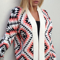 Neon Coral & Black Aztec Print Knit Sweater