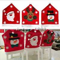 Christmas Xmas Deer Snowman Santa Chair Cover Sets Home Winter Decoration = 1945814404