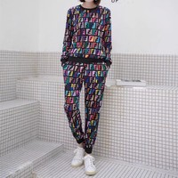 """Fendi"" Women Fashion Personality Multicolor F Letter Long Sleeve Trousers Set Two-Piece Sportswear"