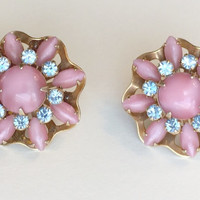 Vintage Rose Pink Plastic Lucite and Blue Rhinestone Flower Shaped Post Earring