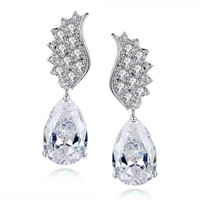 Teardrop and Round Cubic Zirconia Earrings