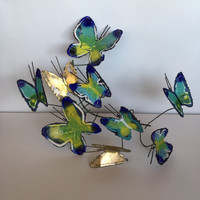 Curtis Jere signed and dated wall mounted butterfly metal and enamel sculpture brutal art modernist 1969