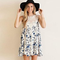 Round Neck Lace Stitching Sleeveless Printing Dress