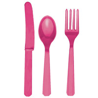 Magenta Forks, Knives and Spoons (8 each)
