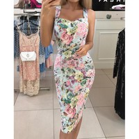 Floral print strapless bodycon party dress Summer Sleeveles casual pencil dresses Elegant flower midi dress Women Vestidos