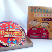 Bar-Zim   Spelling and Counting Broad  1950's Vintage Toy with Box