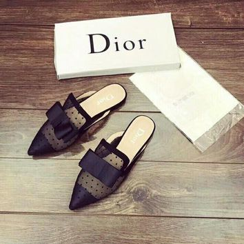 """""""Dior"""" Temperament Fashion Polka Dots Perspective Gauze Bow Pointed-toe Slippers Women Sandals Flats Shoes"""