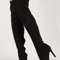 *Breckelle Vegan Suede Stiletto OTK Boot