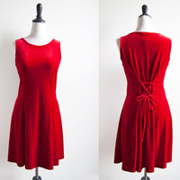 1990s Red Velvet Valentine Tie Back Skater Dress